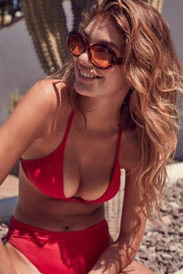 Out From Under - Out From Under Triangle Racerback Bikini Top, Maroon