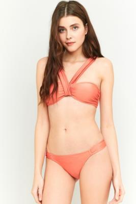 MinkPink - MINKPINK Just Peachy Ruched Orange Bikini Top, Bronze