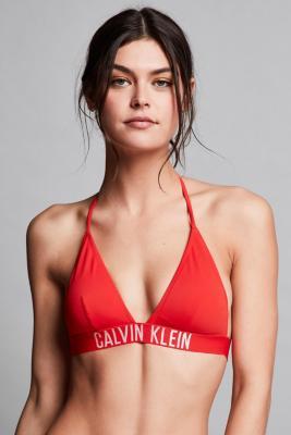Calvin Klein Fiery Red Triangle Bikini Top, RED