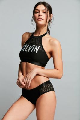 Calvin Klein Black Mesh Hipster Bikini Bottoms Black