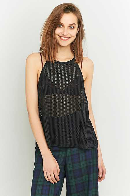 Light Before Dark Oversized Black Airtex Cami