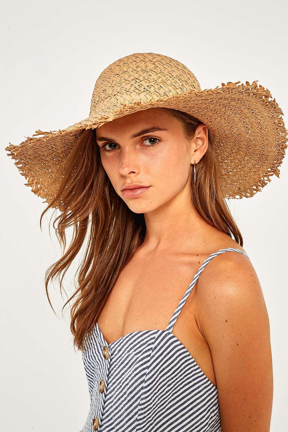 Slide View: 1: Wide Brim Straw Hat