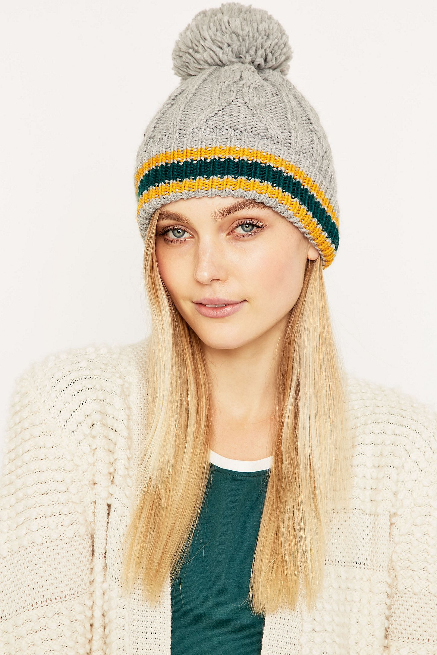 a529ba231c0 Collegiate Striped Cuff Grey Pom Beanie. Click on image to zoom. Hover to  zoom. Double Tap to Zoom