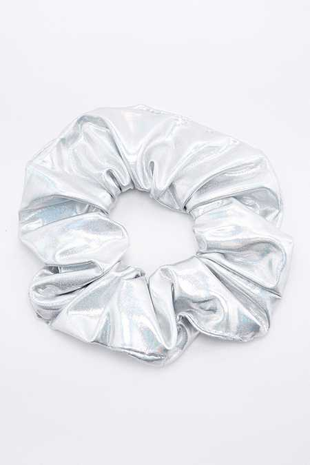 Holographic Silver Scrunchie Hair Band