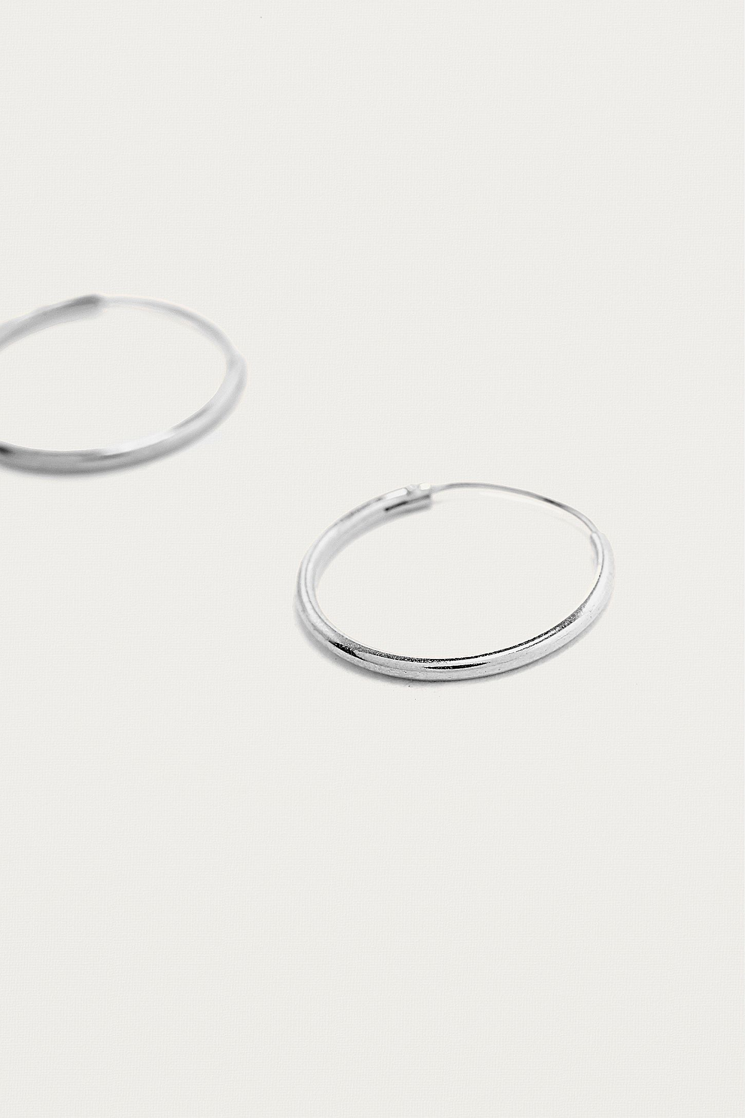 Slide View 3 Sterling Silver Medium Hoop Earrings