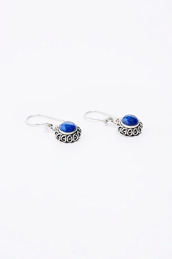 Sterling Silver Blue Stone Drop Earrings