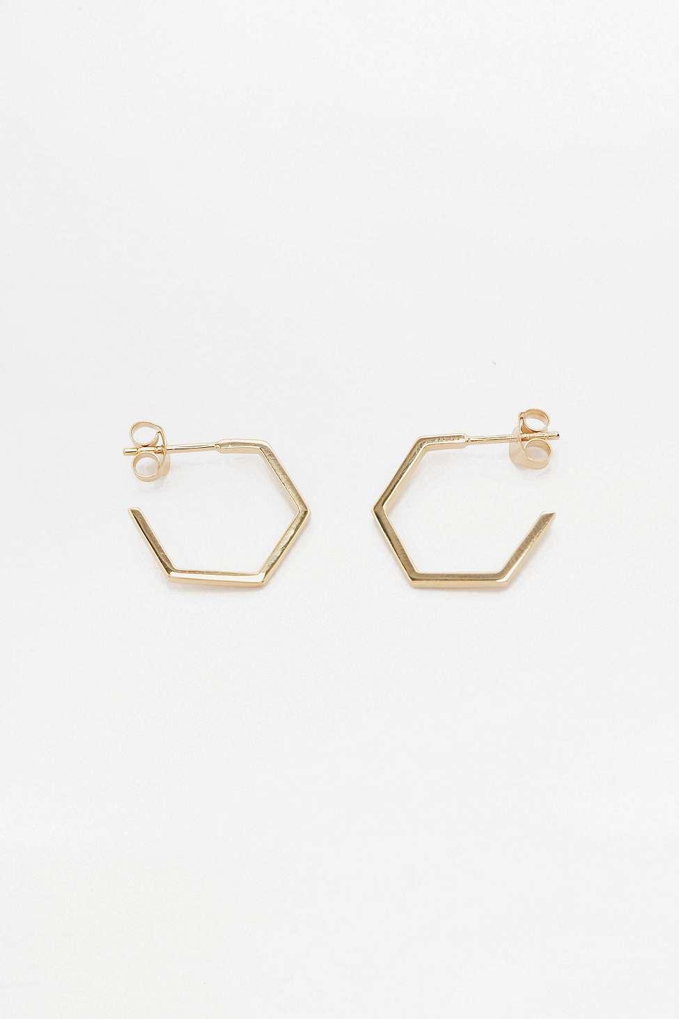 Rachel Jackson London Hexagon Gold Hoop Earrings