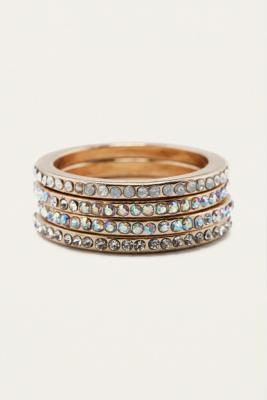 Iridescent Crystal Stacking Ring 4-Pack - Womens M/L