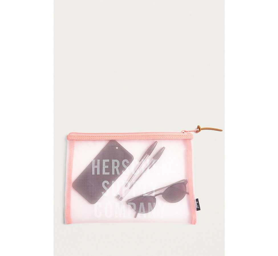 Slide View: 1: Herschel Supply Co. Network Pink Mesh Large Pouch