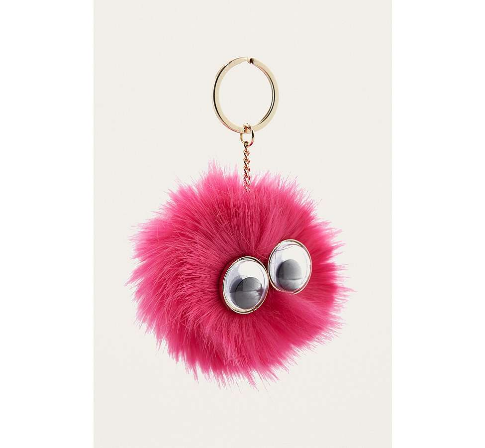 Slide View: 1: Furry Pom-Pom Eye Key Ring