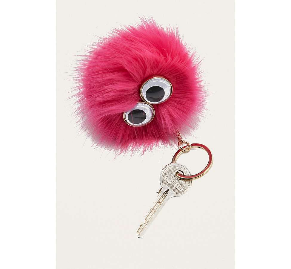 Slide View: 2: Furry Pom-Pom Eye Key Ring