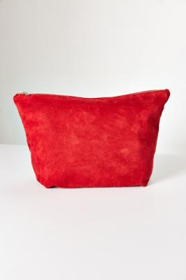 BAGGU Large Red Suede Clutch Bag Red