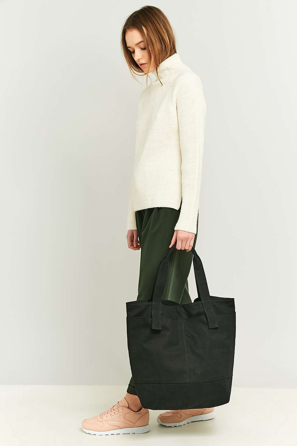 Oversized Black Canvas Tote Bag | Urban Outfitters