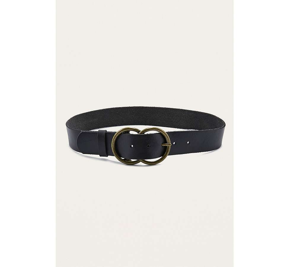 Slide View: 3: Leather Double Circle Buckle Belt