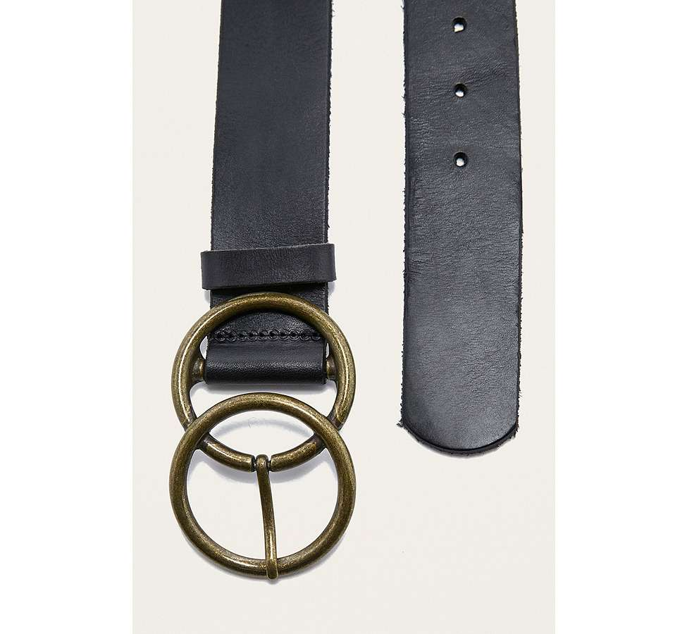 Slide View: 5: Leather Double Circle Buckle Belt