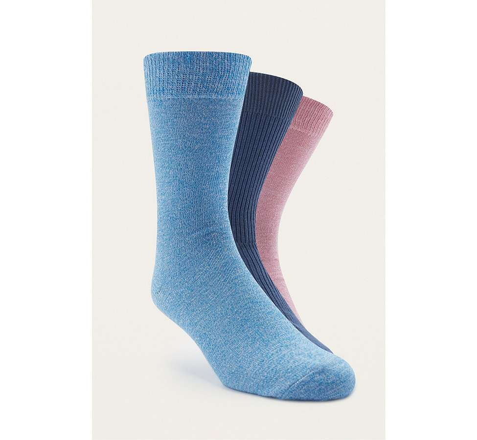 Slide View: 1: Urban Outfitters Pink and Blue Twist Knit Socks Pack
