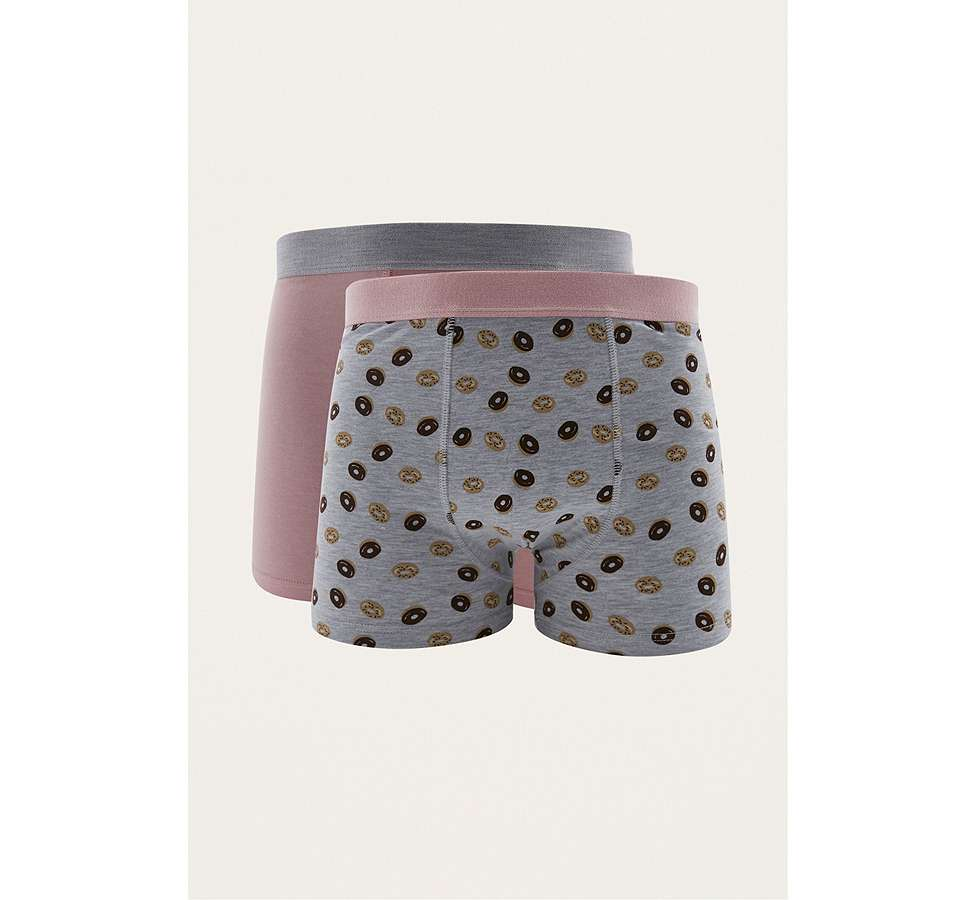 Slide View: 1: UO Grey Donut Boxer Trunks Pack