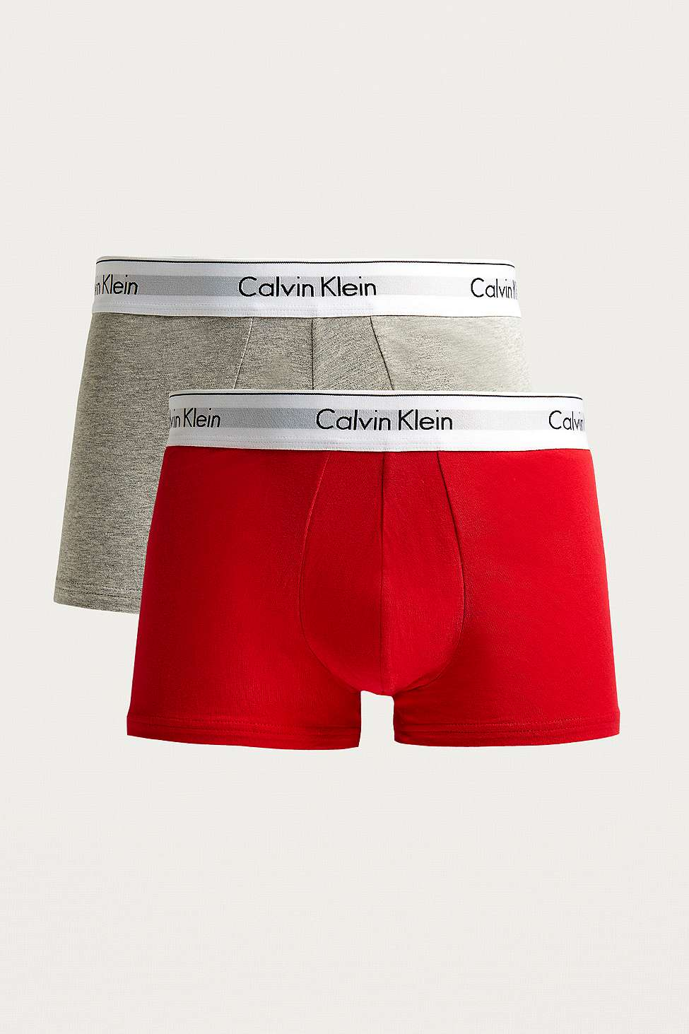 Calvin Klein Red And Grey Solid Boxer Trunks Pack Urban Outfitters