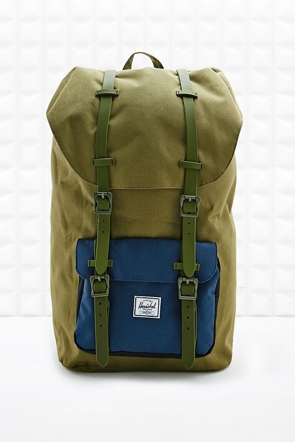 b77cd713fcc Herschel Supply co. Rubber Strap Little America Backpack in Army ...