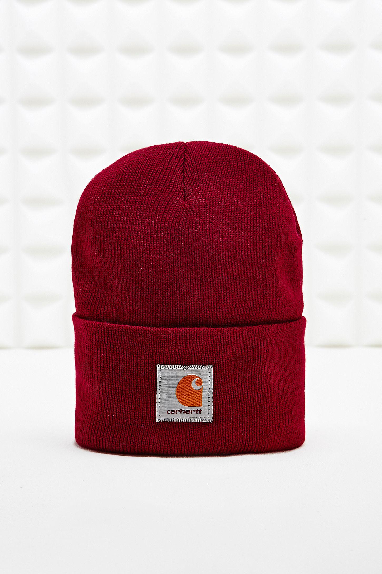 0d73de051cb Carhartt Cordovan Beanie Hat in Burgundy